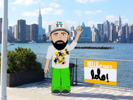 LoLo realtime animated avatar standing in front of new york city skyline
