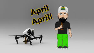 LoLo and Octocopter in front of white background with text april